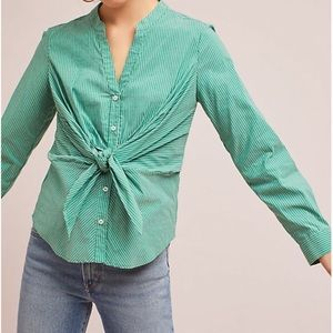 Maeve Anthropologie Katherine Knotted Blouse Green